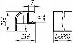 Размеры профиля соединительного 90°