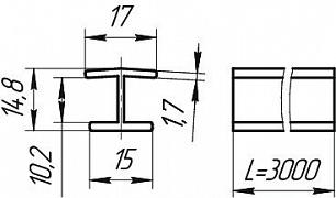 Размеры профиля соединительного180°